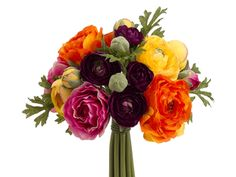 """STEPHANIE.... PRIME EXAMPLE: SILK Ranunculus Bouquet in Purple, Yellow and Tangerine - 9"""" Tall. i just love this <3 ."""