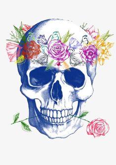 Halloween Skull Art Print by Agata Duda Sugar Skull Tattoos, Sugar Skull Art, Sugar Skulls, Calaveras Mexicanas Tattoo, Skull Wall Art, Colorful Skulls, Skull Pictures, Day Of The Dead Skull, Candy Skulls