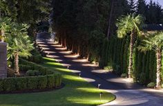 When designing your backyard, don't forget to carefully plan your lighting as well. Get great ideas for your backyard oasis here with our landscape lighting design ideas. Driveway Design, Driveway Landscaping, Farmhouse Landscaping, Driveway Gate, Driveway Lighting, Outdoor Lighting, Lighting Ideas, Tree Lined Driveway, Landscape Lighting Design