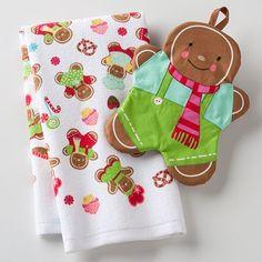 Gingerbread kitchen towel/potholder set