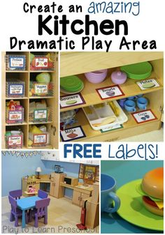 Dramatic Play Kitchen (Play to Learn Preschool) The dramatic play area is the center of our classroom community. So much fun, hands-on learning takes place there! We love to set it up with simple themes, like a restaurant, and elaborate themes, lik Preschool Rooms, Preschool Centers, Preschool Kitchen Center, Preschool Set Up, Preschool Decor, Preschool Classroom Labels, Preschool Center Labels, Preschool Life Skills, Block Center Preschool