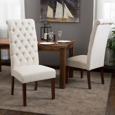 Christopher Knight Home Tall Natural Tufted Dining Chairs (Set of 2) - Overstock™ Shopping - Great Deals on Christopher Knight Home Dining Chairs
