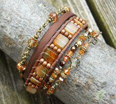 Juicy Layers / Beaded Leather Wrap Bracelet / OOAK by DeLucaArt, $54.00