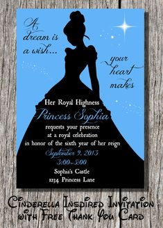 Personalized Disney Cinderella Inspired Silhouette Birthday Invitation with Free Thank You Card