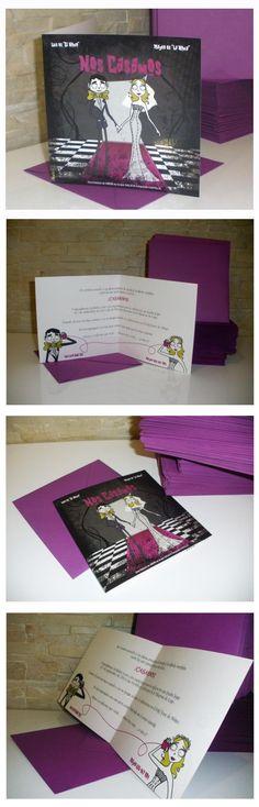 Invitación de boda personalizada inspirada en Tim Burton  www.mamajosefa.es