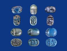 6 Ancient Egyptian blue scarabs, tops and bottoms. The last one bears the Throne name of Either 18th dynasty king Tuthmose II, or Necho I of the 26th dynasty: MenKheperRa.