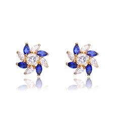 Collette Z Sterling Silver Cubic Zirconia Stud Earrings With Pinwheel Design