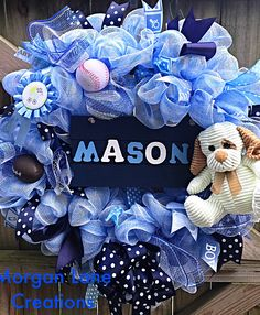 Deco mesh wreath personalized for a baby boy $50 Morgan Lane Creations  Find us on Etsy or facebook!