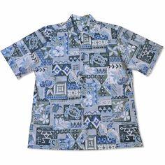 Turtle Fun Blue Hawaiian Reverse Shirt   #alohashirt #hawaiianshirt #madeinhawaii #floralshirt #hawaiianshirts