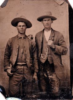 2 authentic cowboys, tintype found in Ft. Worth Texas, note the leather quirt on the left hand of the man on left showing he worked with horses and cattle, hats likely Stetsons.