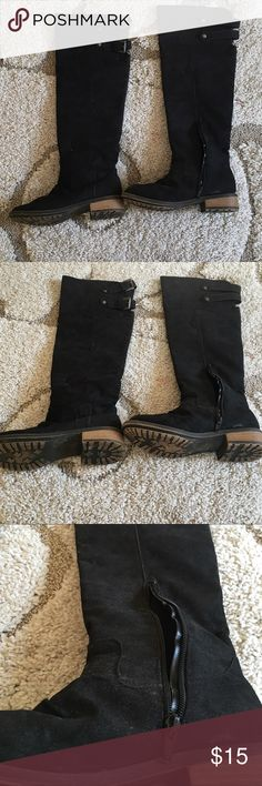 Black suede boot Knee length suede boot . Good condition I have a wider calf for they don't fit me. Shoe Dazzle Shoes Over the Knee Boots