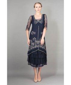 AL-2101 Titanic Tea Length Dress in Sapphire