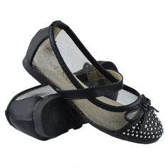 Kids Ballet Flats Studded Toe Cap Mesh Lace Casual Slip On Shoes Black Ballet Kids, Casual Slip On Shoes, Girls Flats, Lace Bows, Ballet Flats, Black Shoes, Cap, Sneakers, Mesh