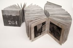Rita Lazauskas - daily drawing books ...charcoal on paper, concertina book, 9x9cm each