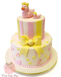 Duckie Baby Shower Cake by Pink Cake Box in Denville, NJ. More photos and videos at blog.pinkcakebox.... #cake #baby #shower