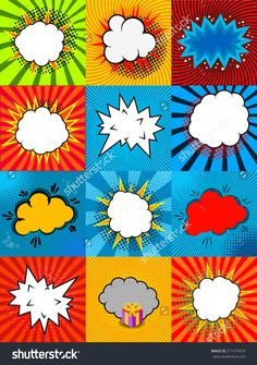 Set of comic style speech bubbles with colorful backgrounds. Vector design…