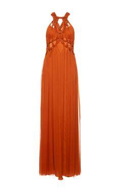 Knotted Chiffon Creponne Gown by ALBERTA FERRETTI for Preorder on Moda Operandi