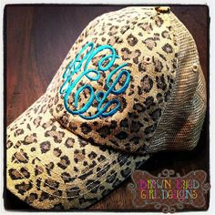 Shabby Leopard Print Trucker Hat with adjustable snap closure in the back. monogram in pink.