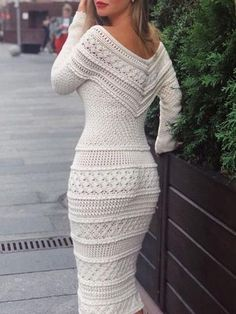 V-Neck Long Sleeve Mid-Calf Plain Regular Dress Material:Cotton Blends Silhouette:Pencil Dress Length:Mid-Calf Sleeve Length:Long Sleeve. Dress Outfits, Casual Dresses, Fashion Dresses, Sweater Dresses, Casual Clothes, Wool Dress, Knit Dress, Crochet Dresses, Crochet Clothes