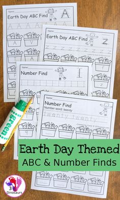 Earth Day ABC & Number Find - easy to use no-prep printables that work on all 26 letters of the alphabet and nubmers 1 to 20 $ - 3Dinosaurs.com Earth Day Activities, Preschool Learning Activities, 26 Letters, Letters And Numbers, Find Name, Letter Find, Numbers For Kids, Number Words, Uppercase And Lowercase