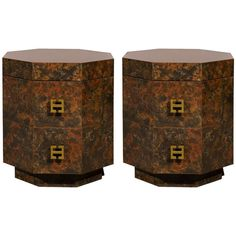 Exquisite Pair of Octagonal Faux Tortoise Shell End Table/Night Stands | From a unique collection of antique and modern end tables at https://www.1stdibs.com/furniture/tables/end-tables/