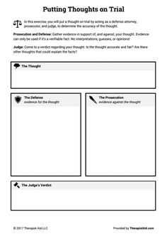Cognitive Restructuring: Thoughts on Trial (Worksheet) Family Therapy Activities, Counseling Activities, Counseling Worksheets, Cbt Worksheets, Printable Worksheets, Free Printable, Therapy Tools, Art Therapy, Livros