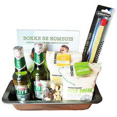 Beer Bread Braai Hamper | Snippets Hampers Italian Cheese, Beer Bread, Hampers, Raisin, Drinks, Bottle, Drinking, Beverages, Flask
