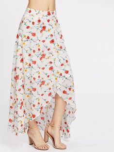 To find out about the High-Low Hemlines Floral Zipper Side Skirt at SHEIN, part of our latest Skirts ready to shop online today! Skirt Outfits, Dress Skirt, Skirt Fashion, Boho Fashion, Ballroom Dress, Long Maxi Skirts, Floral Print Skirt, Western Dresses, Fashion News