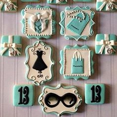Breakfast at tiffanys cupcakes treats 67 Ideas Fancy Cookies, Iced Cookies, Cute Cookies, Royal Icing Cookies, Cupcake Cookies, Sugar Cookies, Tiffany Theme, Tiffany Party, Tiffany Blue