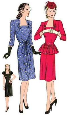 1940 Cocktail Dress, pattern from Vintage Pattern Lending Library. I made this for Guys and Dolls. Very cute and easy to make! 1940s Dresses, Vintage Dresses, Vintage Outfits, Vintage Clothing, 1940s Fashion, Vintage Fashion, Guys And Dolls, Vintage Dress Patterns, Womens Cocktail Dresses