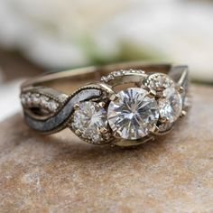 Three Stone Engagement Rings, Diamond Engagement Rings, Western Engagement Rings, Antique Style Engagement Rings, Unusual Engagement Rings, Three Stone Diamond Ring, Floral Engagement Ring, Meteorite Ring, Scrappy Quilts