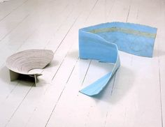 Ian Kiaer  Endless Theatre project / stadium (grey), 2004  Cardboard theatre, blue synthetic foam Installation dimensions variable