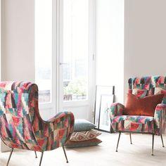 Herman Miller Aeron Chair Size B Furniture Fabric, Arm Chairs Living Room, Chair Reupholstery, Retro Armchair, Warwick Fabrics, Retro Chair, Interior Design, Upholstery Fabric, Upholstered Chairs
