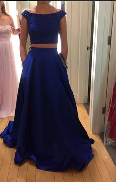 O-Neck Beading Two Pieces Prom Dresses,Long Prom Dresses,Cheap Prom Dresses, Evening Dress Prom Gowns, Formal Women Dress,Prom Dress