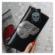 Tinotrade Pu Leather Wallets for Women Rivet Skull Designer Clutch Purse (Black)