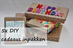 5x DIY cadeaus inpakken Diys, Gift Wrapping, Happy, Blog, How To Make, Card Crafts, Gift Wrapping Paper, Bricolage, Wrapping Gifts