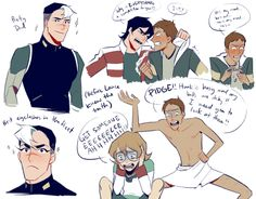 "lingualpugilist: "" i love voltron…. here are some doodles of shiro's eyelashes and lance's dumb antics """