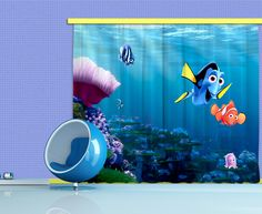 Disney finding Nemo window curtain. New Curtains Collection By WallandMore!