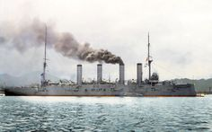 "Imperial Japanese Navy Protected Cruiser Aso 1908 at Maizuru Naval Port. Ex-Russian Protected Cruiser ""Bayan"", captured 1905. Colorized"