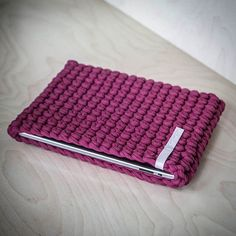 WEBSTA @ knitknotkiev - Crimson iPad crochet sleeve so shockproof! Малиновый чехол для iPad противоударный #KnitKnotKiev #crochet #ipadcase #zpagettiyarn #tshirtyarn #shockproof #zpagetti #handmade #madeinukraine #ipad #ipadsleeve #crimson