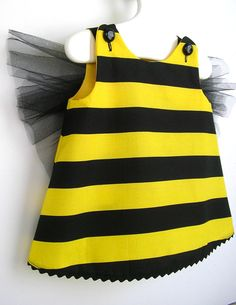 Baby and Toddler Bumble Bee Costume 3PC Set, Pinafore, Bloomers and Floral Headband -