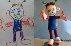 a stuffed animal made from the child's drawing...what a neat gift idea!!