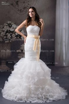 Wholesale White Ivory Dresses - Buy White Mermaid Wedding Dress Strapless Pleated Ruching Bodice With Ivory Bow Band Flouncing Court, $155.76 | DHgate