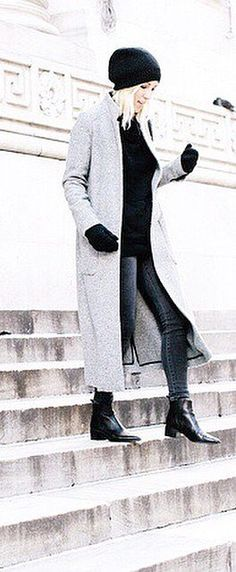 Slouchy With a Great Coat, Sweater, and Gloves