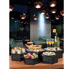 14″ Small Black Matte Steel Hexagon Buffet Riser