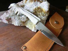 Alligator Jaw Bone, Small Stainless Steel Pen Knife,  Belt Sheath. $37.00, via Etsy.
