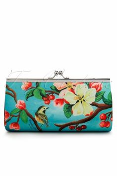 Woody Ellen - 40s retro Clutch Large With Chain Blossom