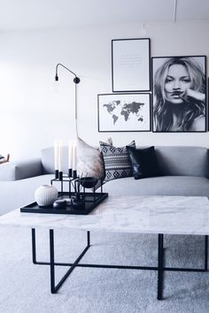 Modern, scandinavian styled living room design, Kate Moss, map print.