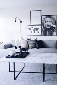 Modern, scandinavian styled living room design, Kate Moss, map print.