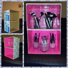 DIY MAKEUP STORAGE: 2 ugly boxes + duck tape & wrapping paper = mini shelf for my makeup brushes!♡